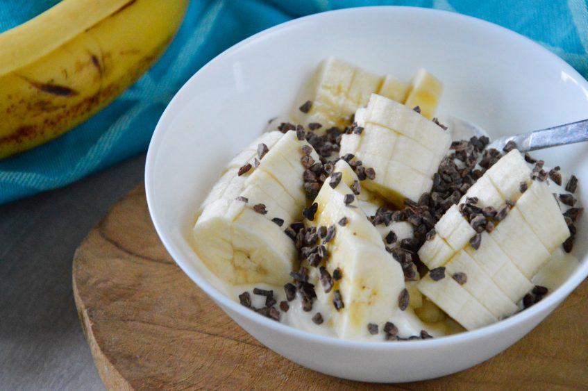Healthy bananasplit ontbijt