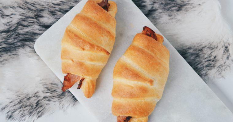 Bacon-kaas croissantjes